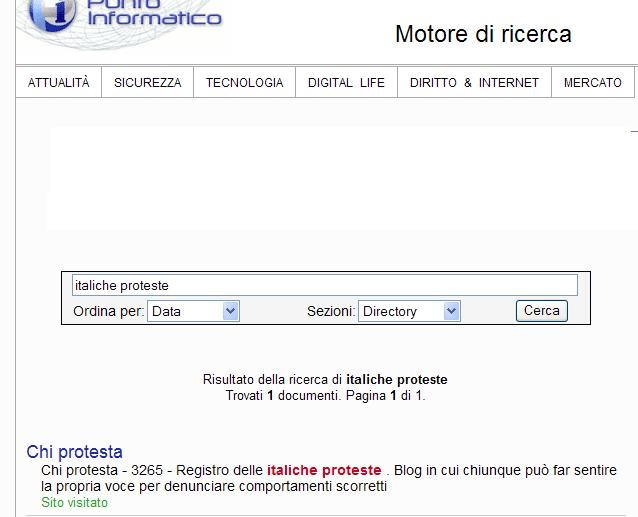 Segnalazione di www.chiprotesta .it