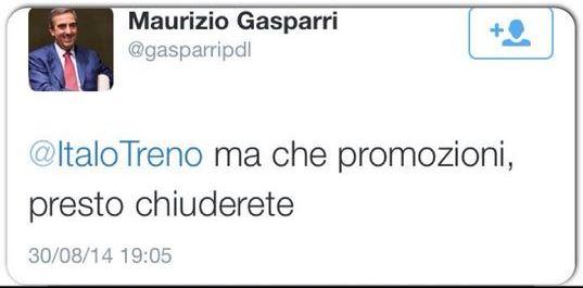 il tweet di Gasparri contro Italo Treno
